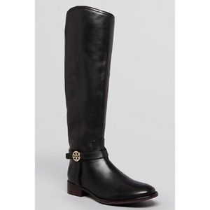 Tory Burch Black Leather Riding Boot